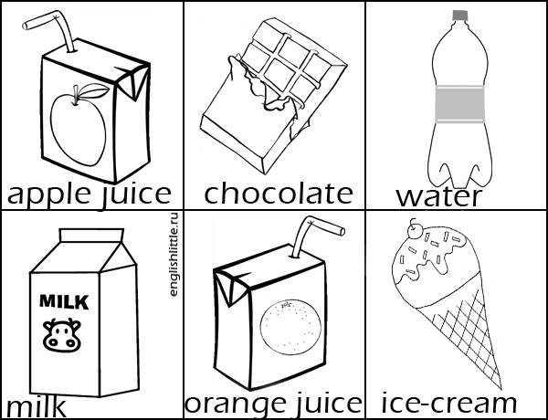 карточки продукты питания для детей на английском
